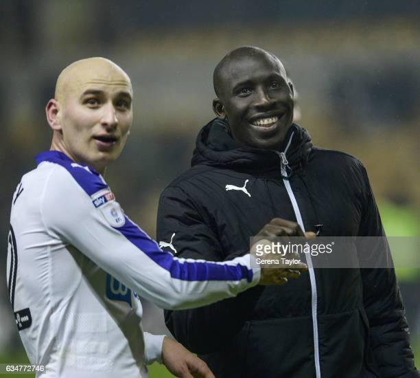 Mohamed Diame of Newcastle United smiles during the Sky Bet Championship mpatch between Wolverhampton Wanderers and Newcastle United at Molineux on...