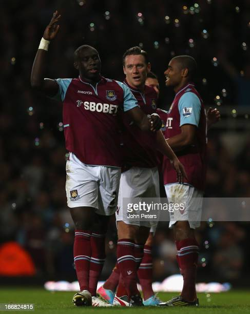 Mohamed Diame of West Ham United celebrates scoring their second goal during the Barclays Premier League match between West Ham United and Manchester...