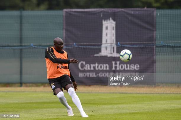 Mohamed Diame passes the ball during the Newcastle United Training session at Carton House on July 12 in Kildare Ireland