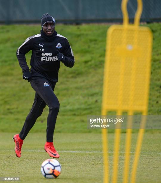 Mohamed Diame runs to receive the ball during the Newcastle United Training session at The Newcastle United Training Centre on January 26 in...
