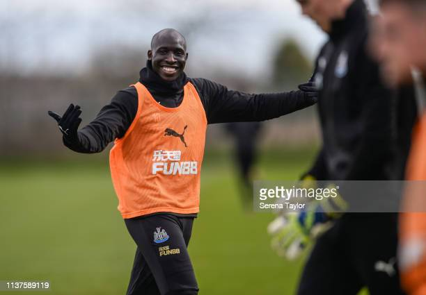 Mohamed Diame smiles after scoring during the Newcastle United Training Session at the Newcastle United Training Centre on March 22 2019 in Newcastle...