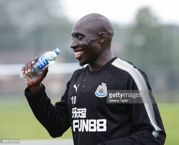 Mohamed Diame takes a drink during the Newcastle United Training session at the Newcastle United Training Centre on July 5 in Newcastle upon Tyne...