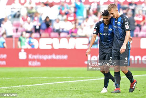 Mohamed Draeger of Paderborn and Uwe Huenemeier of Paderborn look on after the Second Bundesliga match between 1 FC Koeln and SC Paderborn 07 on...