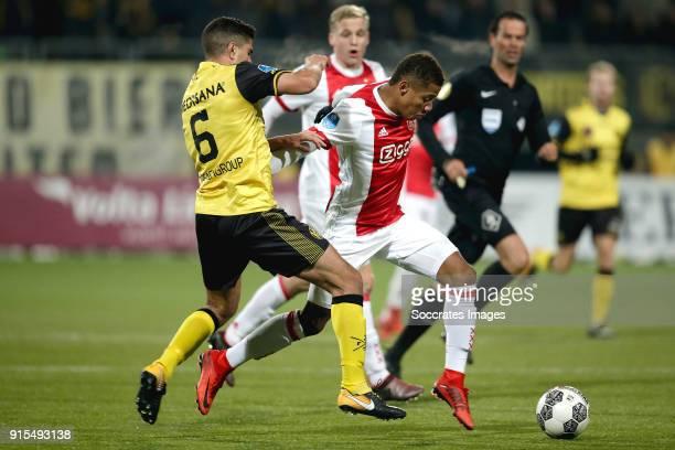 Mohamed El Makrini of Roda JC David Neres of Ajax during the Dutch Eredivisie match between Roda JC v Ajax at the Parkstad Limburg Stadium on...