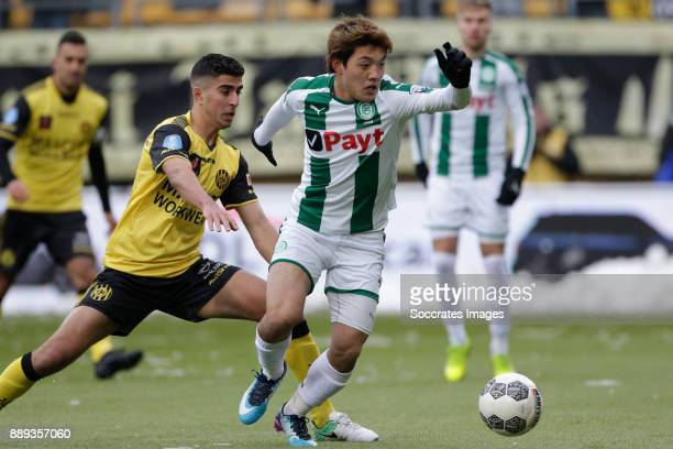 Mohamed El Makrini of Roda JC Ritsu Doan of FC Groningen during the Dutch Eredivisie match between Roda JC v FC Groningen at the Parkstad Limburg...