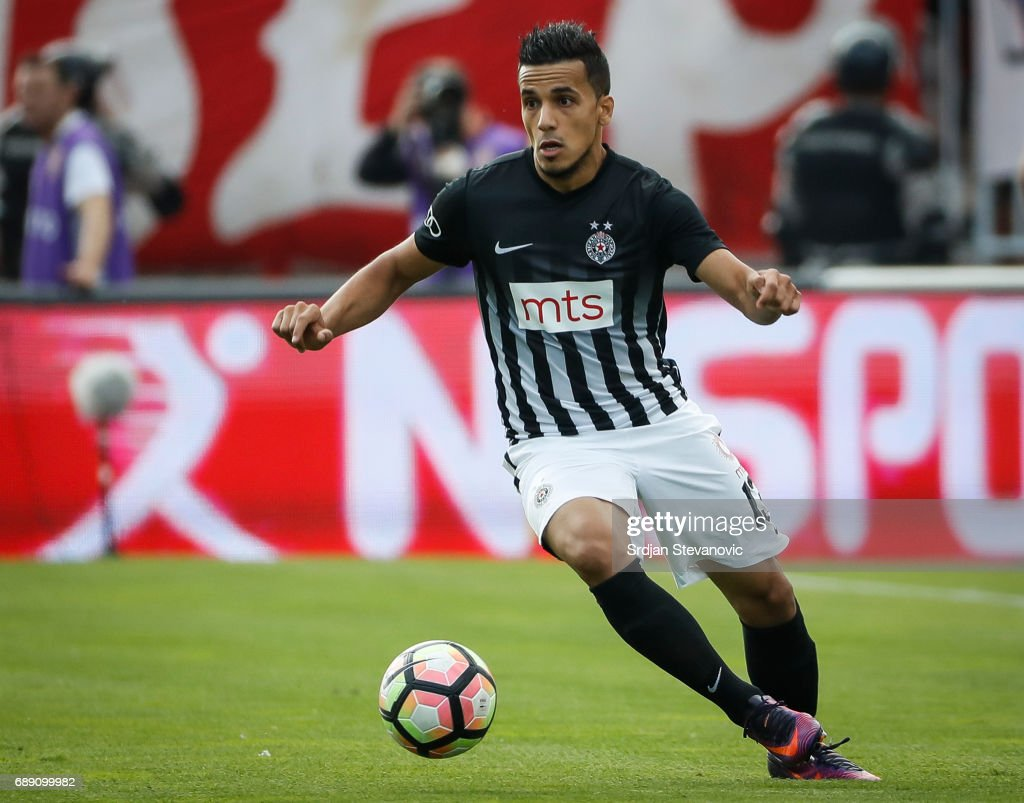 Mohamed El Monir of Partizan in action during the final match of Serbian Cup between Fc Partizan and Fc Crvena Zvezda on May 27, 2017 in Belgrade, Serbia.