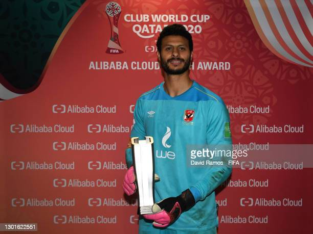 Mohamed El Shenawy of Al Ahly SC poses after being named Player of the Match during the FIFA Club World Cup Qatar 2020 3rd Place Play off match...