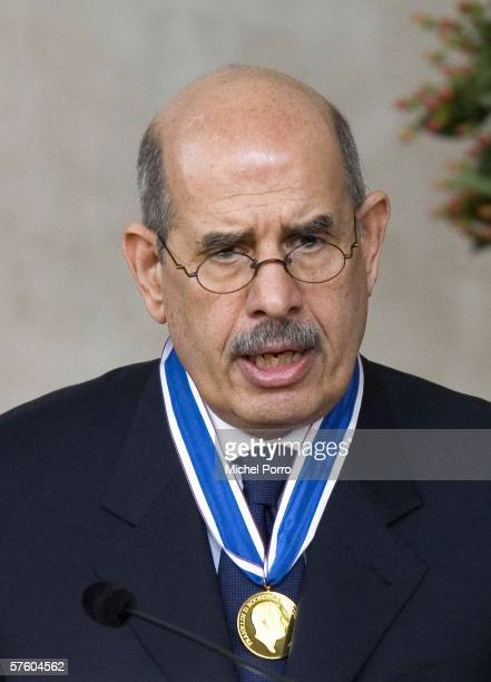 Mohamed Elbaradei, Director General of the International Atomic Energy Agency, speaks at the Four Freedoms Awards ceremony on May 13, 2006 in...