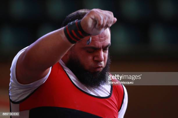 Mohamed Eldib of Egypt gestures during the Men's Up to 97Kg Group A Category as part of the World Para Powerlifting Championship Mexico 2016 at Juan...