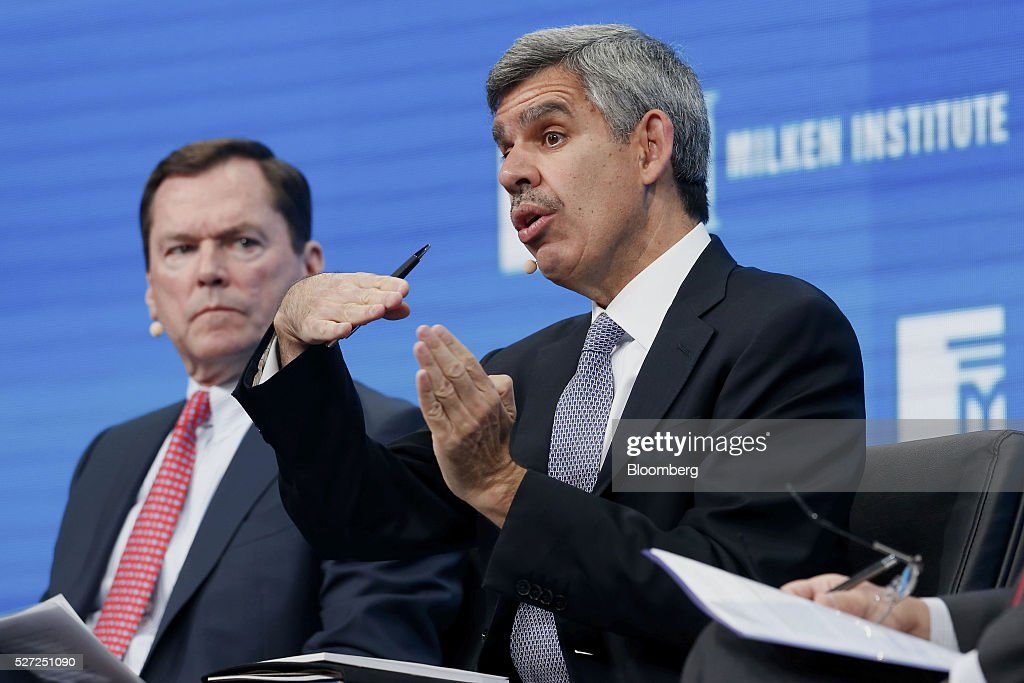 Mohamed El-Erian, former chief executive officer of Pacific Investment Management Co. (PIMCO), right, speaks during the annual Milken Institute Global Conference in Beverly Hills, California, U.S., on Monday, May 2, 2016. The conference gathers attendees to explore solutions to today's most pressing challenges in financial markets, industry sectors, health, government and education. Photographer: Patrick T. Fallon/Bloomberg via Getty Images