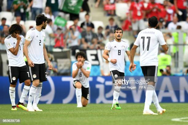 Mohamed Elneny Ali Gabr Ahmed Hegazy Tarek Hamed and Kahraba of Egypt stand dejected following the second Saudi Arabia goal during the 2018 FIFA...