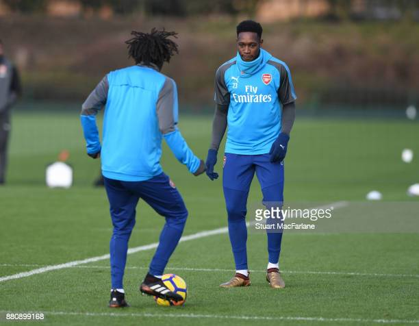 Mohamed Elneny and Danny Welbeck of Arsenal during a training session at London Colney on November 28 2017 in St Albans England