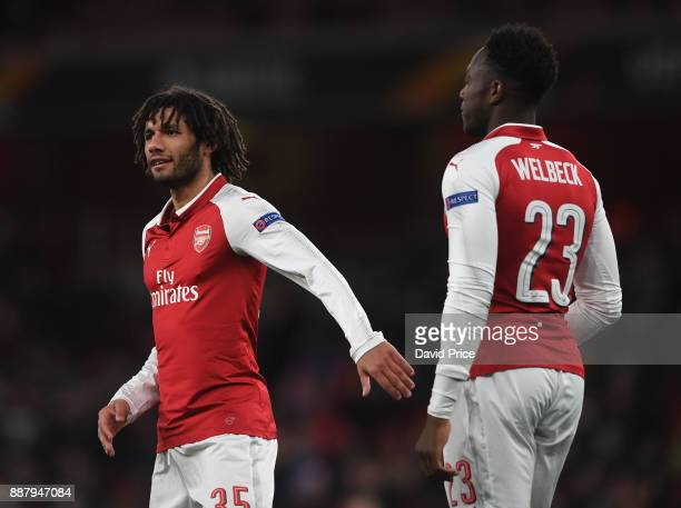 Mohamed Elneny and Danny Welbeck of Arsenal during the UEFA Europa League group H match between Arsenal FC and BATE Borisov at Emirates Stadium on...