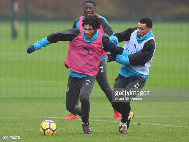 Mohamed Elneny and Francis Coquelin of Arsenal during a training session at London Colney on January 2 2018 in St Albans England