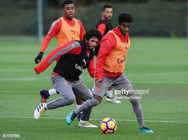 Mohamed Elneny and Gedion Zelalem of Arsenal during a training session at London Colney on November 5 2016 in St Albans England