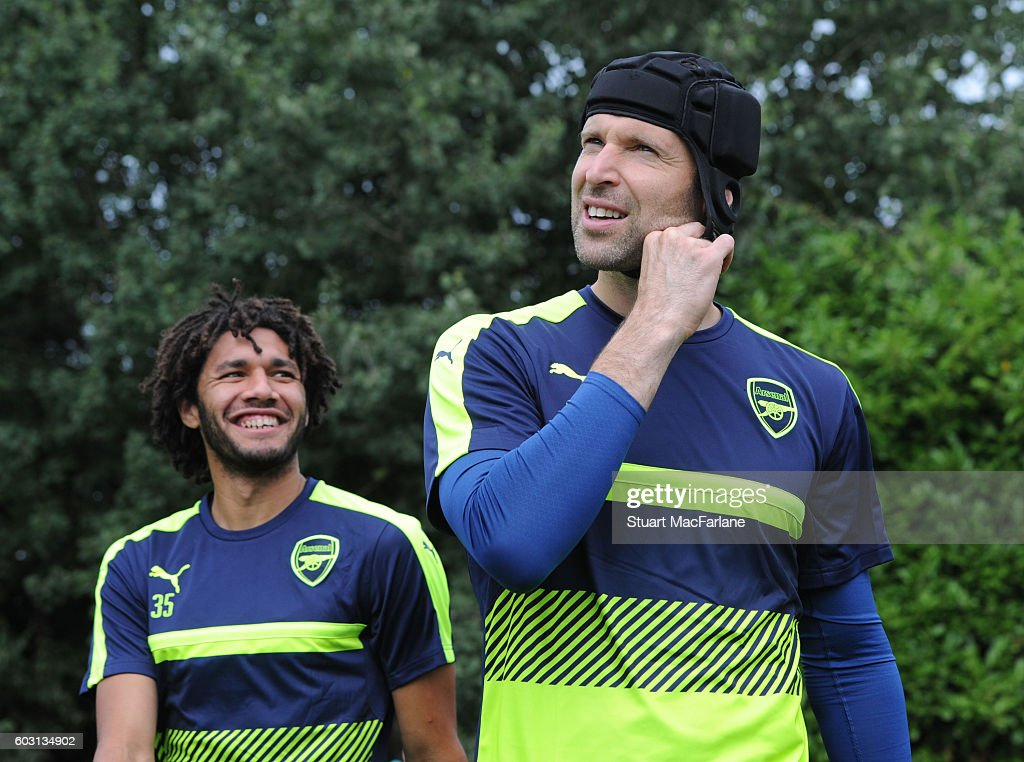 Mohamed Elneny and Petr Cech of Arsenal during a training session at London Colney on September 12, 2016 in St Albans, England.