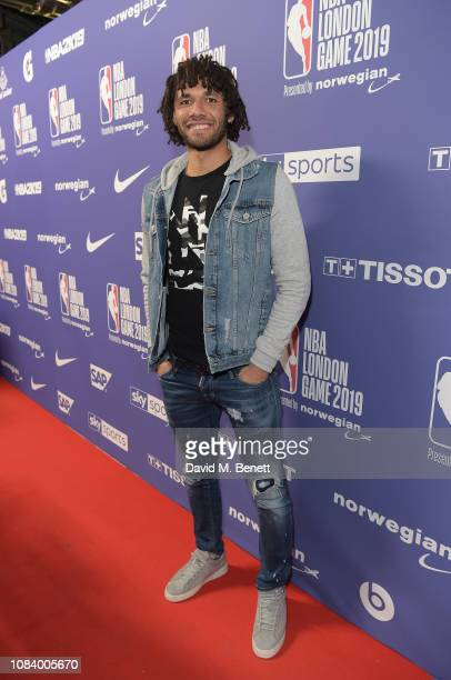 Mohamed Elneny attends the NBA London Game 2019 between the Washington Wizards and New York Knicks at The O2 Arena on January 17 2019 in London...