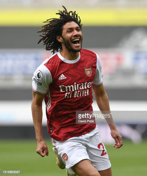 Mohamed Elneny celebrates scoring a goal for Arsenal during the Premier League match between Newcastle United and Arsenal at St. James Park on May...
