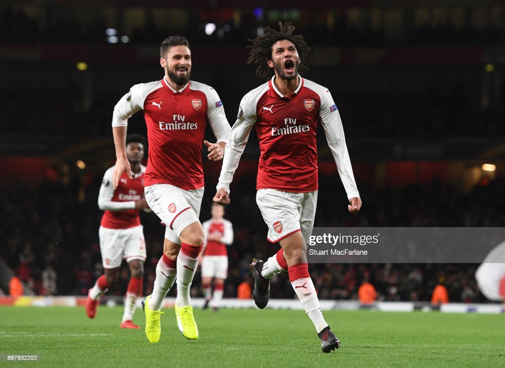 Mohamed Elneny celebrates scoring the 6th Arsenal goal during the UEFA Europa League group H match between Arsenal FC and BATE Borisov at Emirates Stadium on December 7, 2017 in London, United Kingdom.