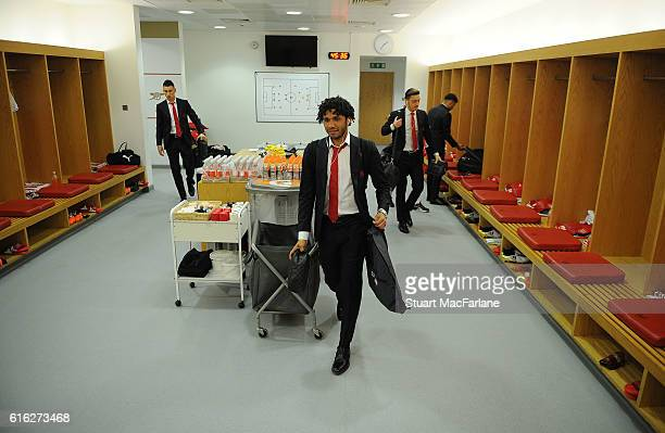 Mohamed Elneny in the Arsenal changing room before the Premier League match between Arsenal and Middlesbrough at Emirates Stadium on October 22 2016...