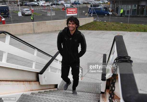 Mohamed Elneny of Arsenal boards the plane at Luton Airport on November 22 2017 in Luton England