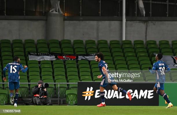Mohamed Elneny of Arsenal celebrates after he scores their team's second goal during the UEFA Europa League Group B stage match between Dundalk FC...