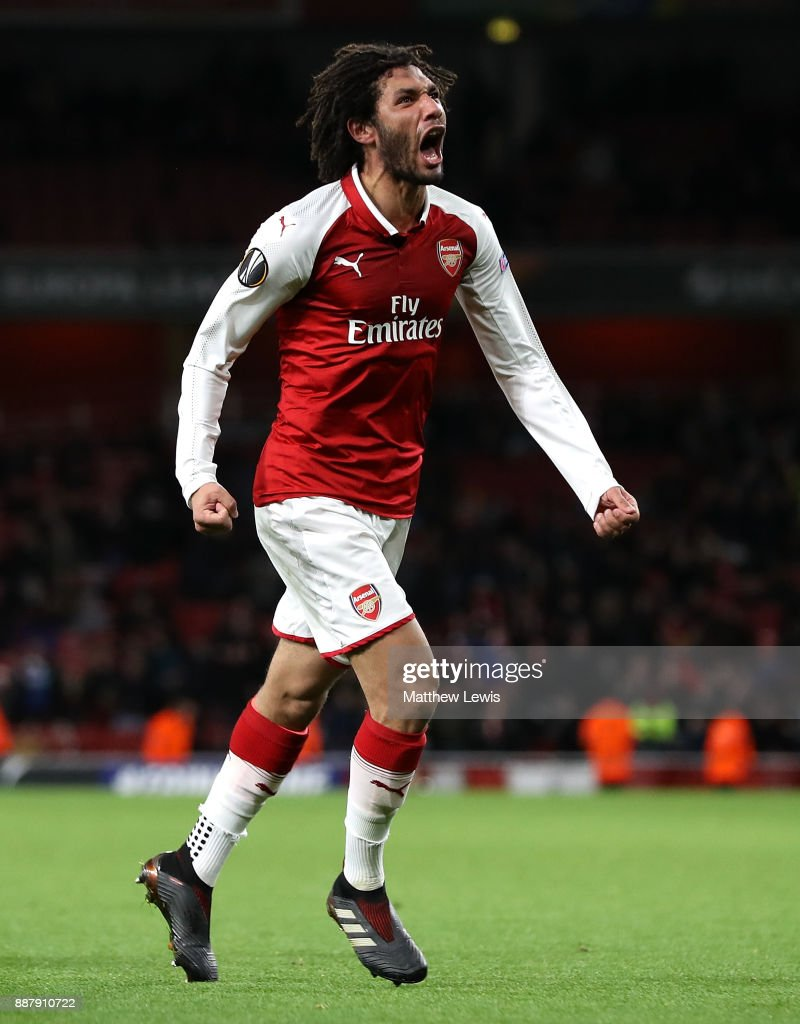 Mohamed Elneny of Arsenal celebrates after scoring his team's sixth goal of the game during the UEFA Europa League group H match between Arsenal FC and BATE Borisov at Emirates Stadium on December 7, 2017 in London, United Kingdom.