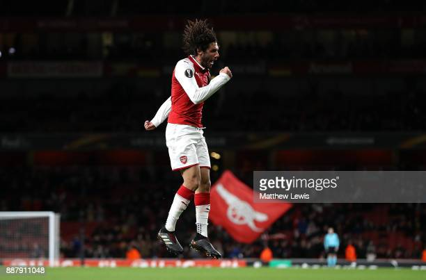 Mohamed Elneny of Arsenal celebrates after scoring his team's sixth goal of the game during the UEFA Europa League group H match between Arsenal FC...
