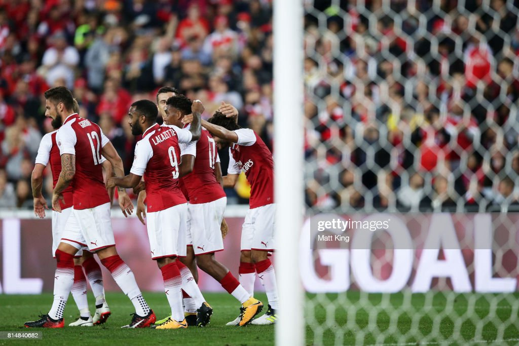 Mohamed Elneny of Arsenal celebrates with team mates after scoring a goal during the match between the Western Sydney Wanderers and Arsenal FC at ANZ Stadium on July 15, 2017 in Sydney, Australia.