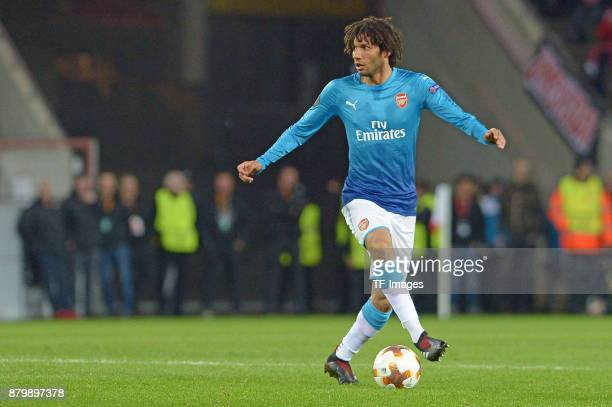 Mohamed Elneny of Arsenal controls the ball during the UEFA Europa League Group H soccer match between 1FC Cologne and Arsenal FC at the RheinEnergie...