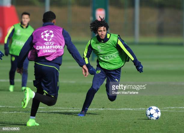 Mohamed Elneny of Arsenal during a training session at London Colney on February 13, 2017 in St Albans, England.
