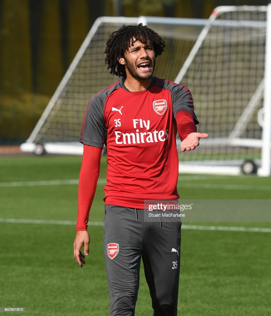 Mohamed Elneny of Arsenal during a training session at London Colney on September 24, 2017 in St Albans, England.
