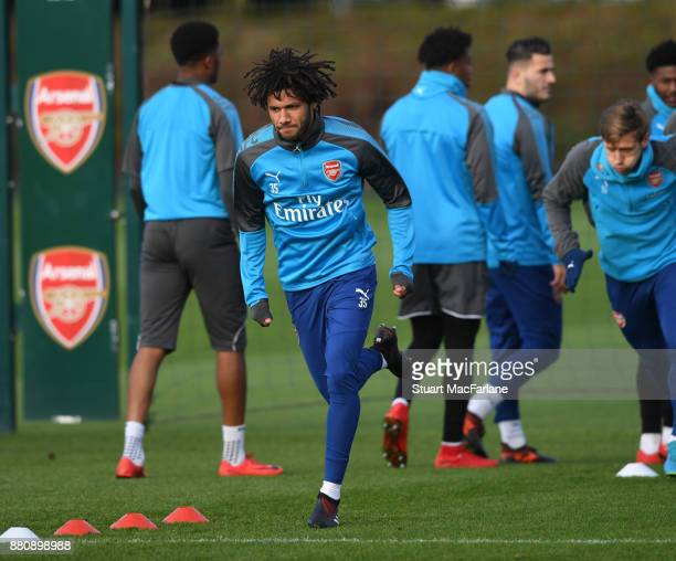 Mohamed Elneny of Arsenal during a training session at London Colney on November 28 2017 in St Albans England