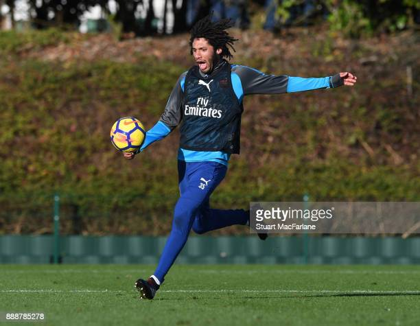 Mohamed Elneny of Arsenal during a training session at London Colney on December 9 2017 in St Albans England