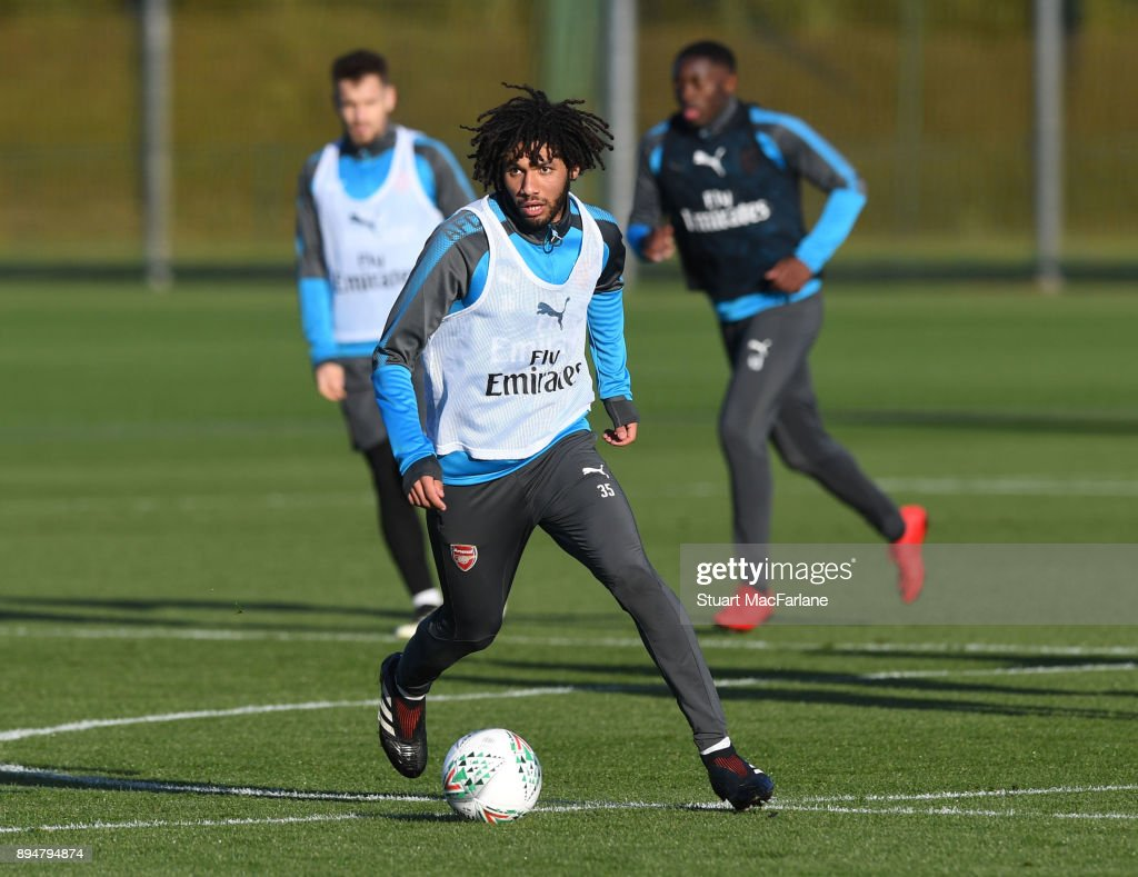 Mohamed Elneny of Arsenal during a training session at London Colney on December 18, 2017 in St Albans, England.