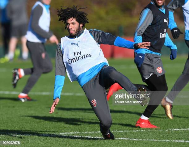Mohamed Elneny of Arsenal during a training session at London Colney on January 19 2018 in St Albans England