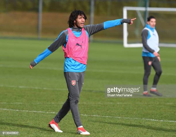 Mohamed Elneny of Arsenal during a training session at London Colney on February 2 2018 in St Albans England