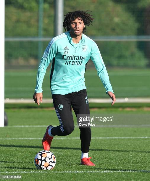 Mohamed Elneny of Arsenal during the Arsenal 1st team training session at London Colney on October 21, 2021 in St Albans, England.