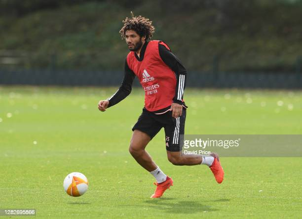 Mohamed Elneny of Arsenal during the Arsenal training session ahead of the UEFA Europa League Group B stage match between Arsenal FC and Dundalk FC...