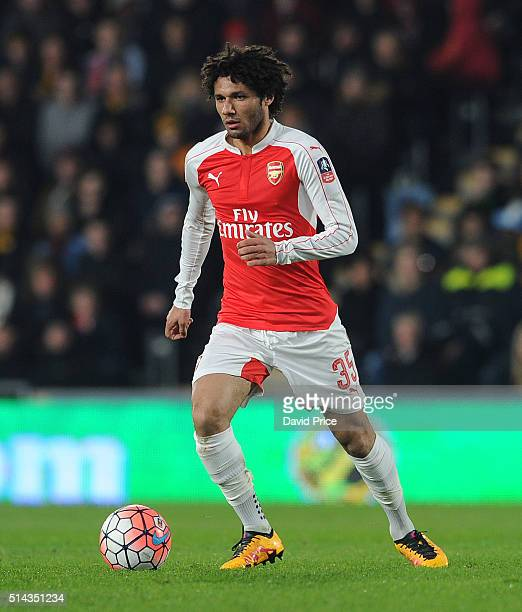 Mohamed Elneny of Arsenal during the match between Hull City and Arsenal in the FA Cup 5th round at KC Stadium on March 8 2016 in Hull England