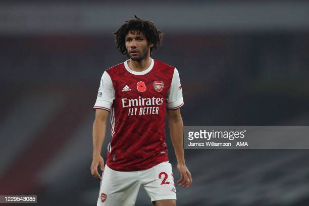 Mohamed Elneny of Arsenal during the Premier League match between Arsenal and Aston Villa at Emirates Stadium on November 8, 2020 in London, United...