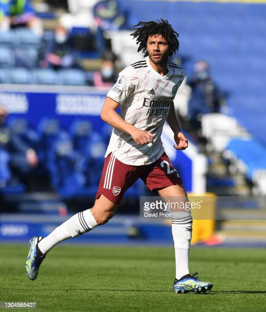 Mohamed Elneny of Arsenal during the Premier League match between Leicester City and Arsenal at The King Power Stadium on February 28, 2021 in...