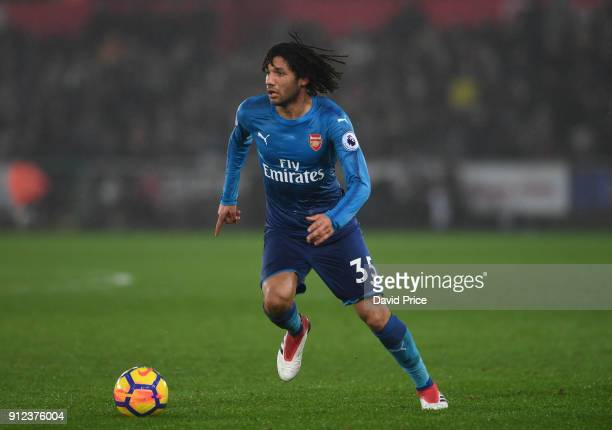 Mohamed Elneny of Arsenal during the Premier League match between Swansea City and Arsenal at Liberty Stadium on January 30 2018 in Swansea Wales