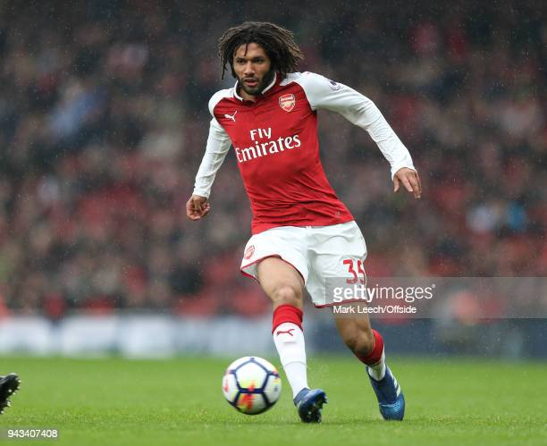 Mohamed Elneny of Arsenal during the Premier League match between Arsenal and Southampton at Emirates Stadium on April 8 2018 in London England