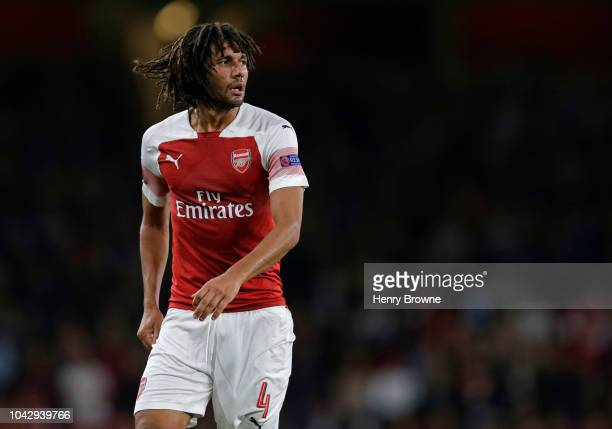 Mohamed Elneny of Arsenal during the UEFA Europa League Group E match between Arsenal and Vorskla Poltava at Emirates Stadium on September 20 2018 in...