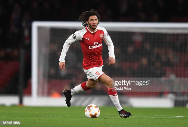 Mohamed Elneny of Arsenal during the UEFA Europa League group H match between Arsenal FC and BATE Borisov at Emirates Stadium on December 7 2017 in...