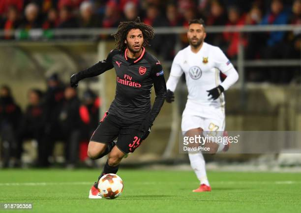 Mohamed Elneny of Arsenal during UEFA Europa League Round of 32 match between Ostersunds FK and Arsenal at the Jamtkraft Arena on February 15 2018 in...
