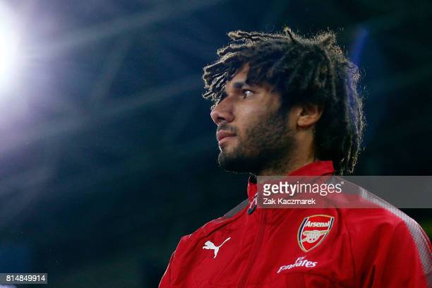 Mohamed Elneny of Arsenal enters the field of play during the match between the Western Sydney Wanderers and Arsenal FC at ANZ Stadium on July 15...