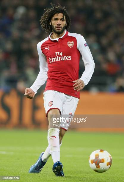 Mohamed Elneny of Arsenal FC in action during the UEFA Europa League quarter final leg two match between PFC CSKA Moskva and Arsenal FC at CSKA Arena...