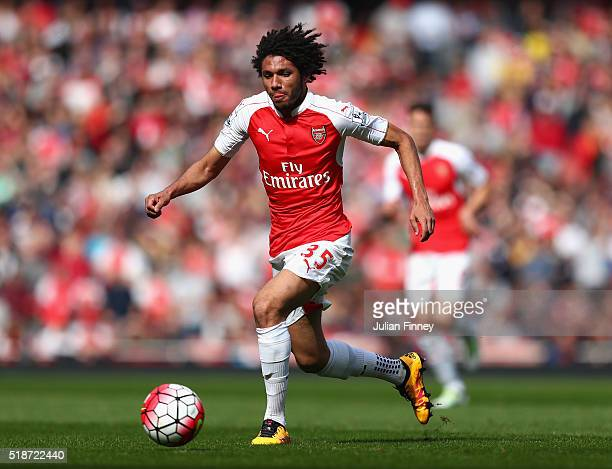 Mohamed Elneny of Arsenal in action during the Barclays Premier League match between Arsenal and Watford at the Emirates Stadium on April 2 2016 in...